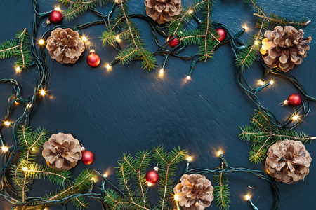 twigs: Christmas decoration with lights and pine twigs