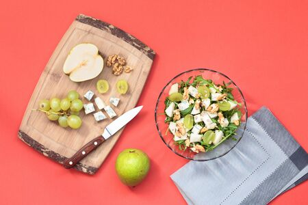 clean cut: Top shot of salad with fresh fruits and vegetables