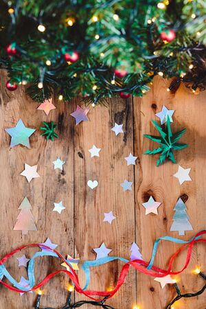 craft paper: Christmas decorations with tree, stars and lights