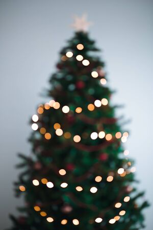 holiday tradition: Blurred Christmas tree lights