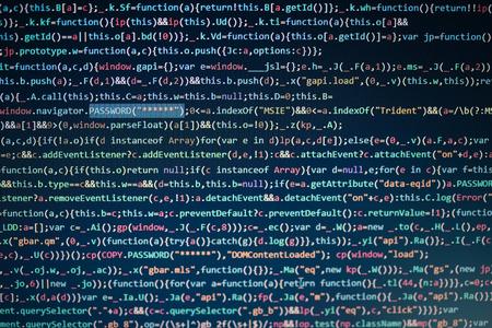 Computerscherm met programmacode, website-ontwikkeling, applicatie-opbouw, wachtwoord en privégegevens. Toegang tot de informatie, vertrouwelijke persoonlijke gegevens. Bescherming doorbreken. Identiteit stelen. Software kraken Stockfoto