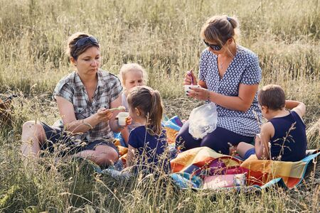 Families and friends spending time together on a meadow, close to nature. Mothers feeding kids, sitting on a blanket, on grass. Candid people, real moments, authentic situations Reklamní fotografie