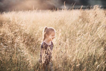 Little happy smiling girl walking through a tall grass in the countryside. Candid people, real moments, authentic situations Reklamní fotografie