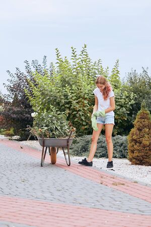 Teenage girl working at a home garden. Candid people, real moments, authentic situations Stok Fotoğraf