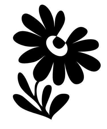 ox eye daisy: flower black vector
