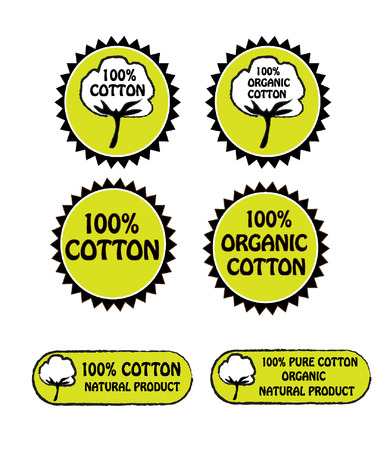 Cotton and organic cotton labels Vector