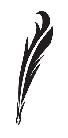 feather pen black vector