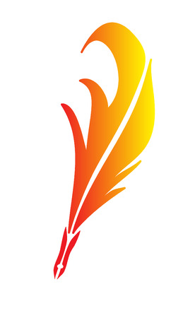 feather pen red and yellow vector Vector