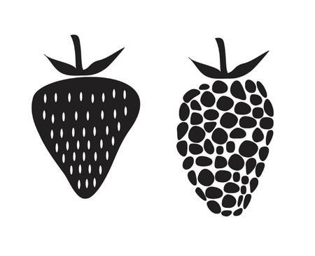 rasberry: strawberry and rasberry black and white illustration