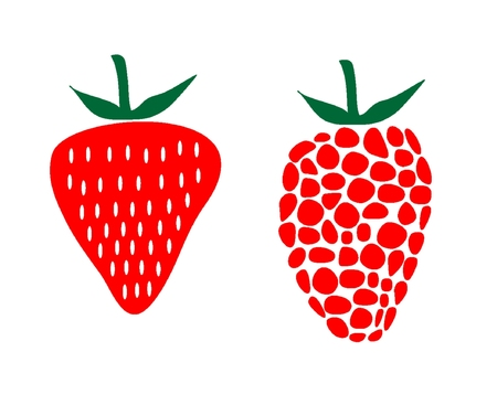 strawberry and rasberry  illustration Vector