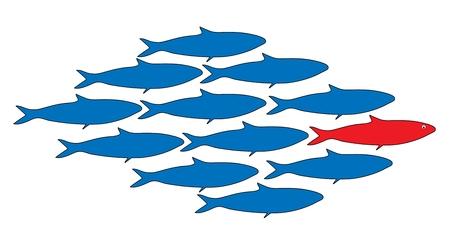 banco de peces con un líder, ilustración vectorial