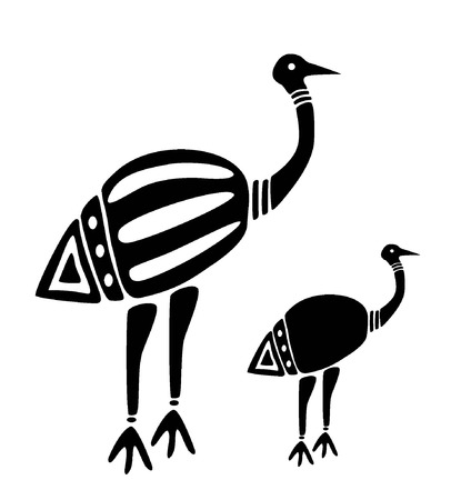 birds like ostrich, mum with a baby bird, black and white  Illustration