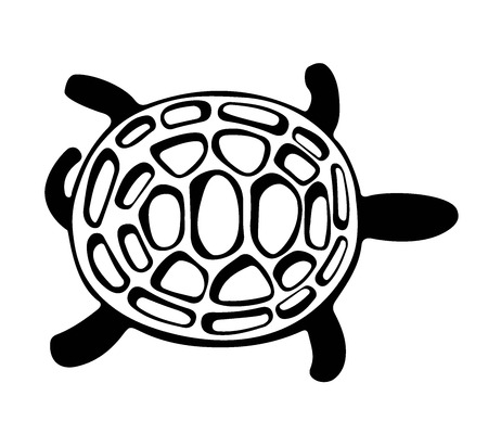 turtle, illustrated vector, abstract, black and white Vector