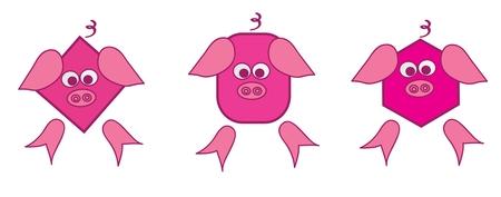 piglets: 3 piglets, vector illustration Illustration