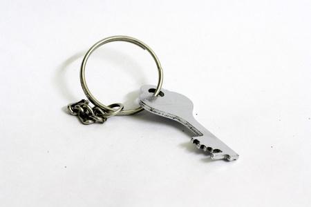 keyring: Simple key on keyring, isolated on white