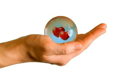 glass earth with two hearts Stock Photo - 2886080