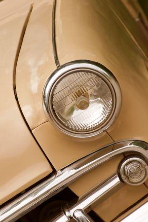 headlamp: old car. headlamp and bumper