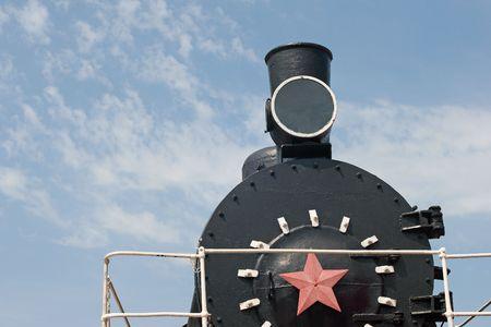 old fashioned black stream locomotive photo