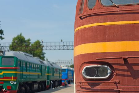 waggon: locomotive and waggon on railroad station