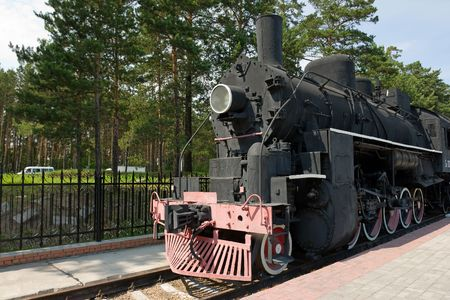 old fashioned black stream locomotive photo
