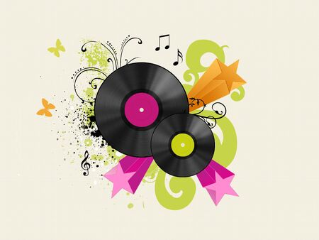 vinyl discs with floraland starred background