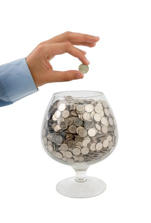 man's hand puts money into the glass Stock Photo - 3822932