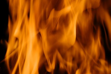 forks of flame on black background Stock Photo