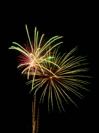 multi national: bright colored fireworks on black background