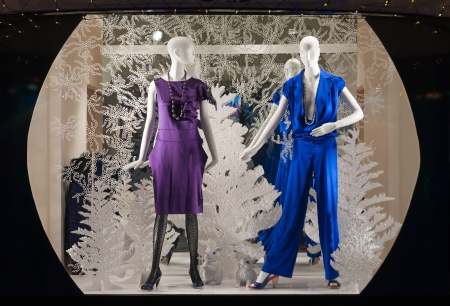 show window: shop window with clothed mannequins