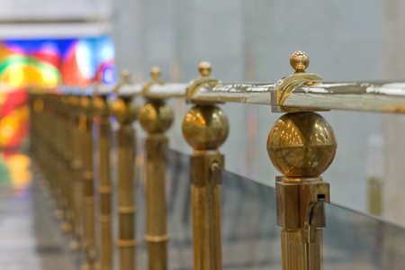gold railing in museum hall Stock Photo - 4251720