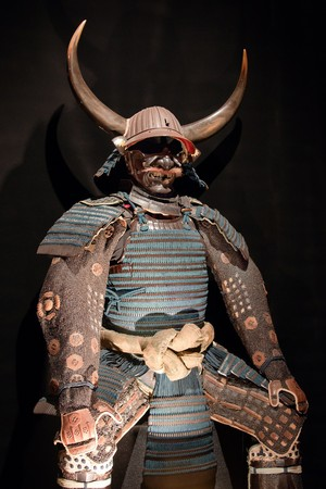 historic samurai armor on black Stock Photo