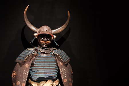 samurai: historic samurai armor on black Stock Photo