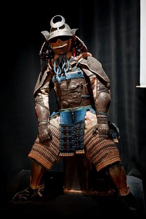 historic samurai armor on black photo