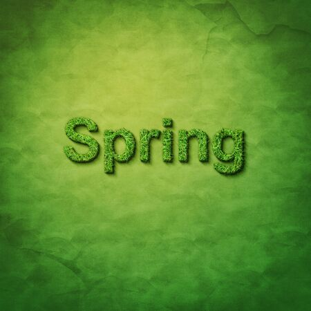 grass spring word on green sackcloth Stock Photo