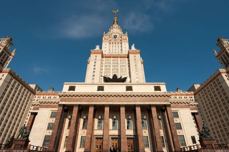 mikhail: Moscow State University with clear blue sky