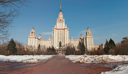 mikhail: Moscow State University with clear blue sky, winter shot