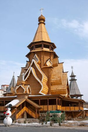 Wood church in Kremlin in Izmailovo, Moscow, Russia photo