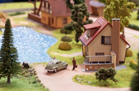village miniature with house and lake