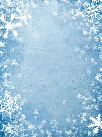 winter wallpaper: portada de vacaciones azul �spera con muchos copos de nieve Foto de archivo