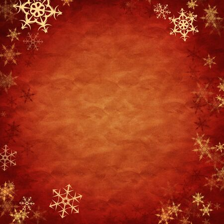 white showflakes over red cloth, new year background