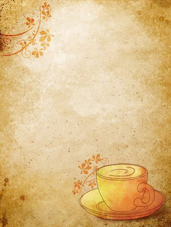cup of coffee with floral pattern over grunge styled backgound