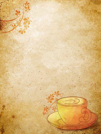 planta de cafe: taza de caf� con patr�n floral sobre el grunge estilo backgound Foto de archivo