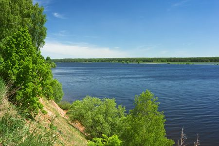 River landscape with high brink, Volga, Russia. photo