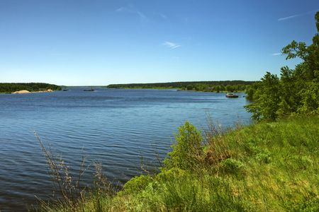brink: River landscape with high brink, Volga, Russia.