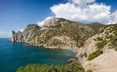 Crimea mountains and Black sea landscape, good sunny day Stock Photo - 6737615