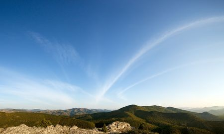 tableland: Crimea mountains, view to sky from tableland