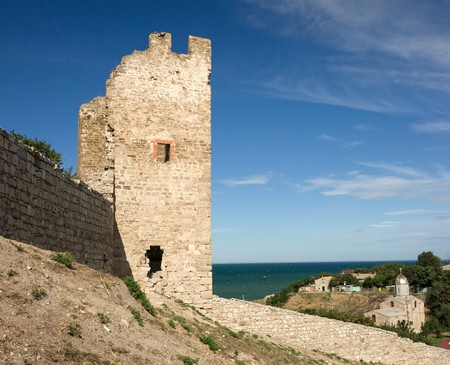 genoese: medieval Genoese stronghold in Crimea, sunny day Stock Photo