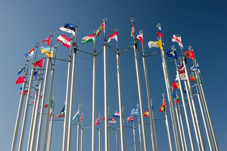 europe countries flags arranged in a circle on blue sky Stock Photo