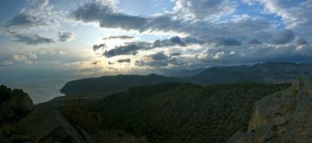 Crimea mountains and Black sea landscape, evening lighting photo