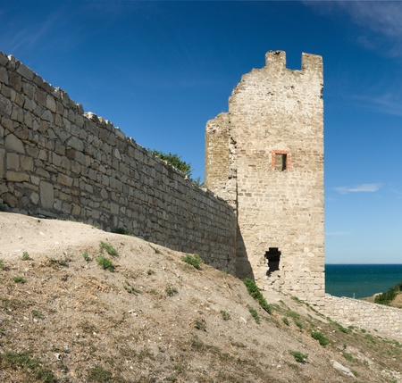 loophole: medieval Genoese stronghold in Crimea, sunny day Stock Photo